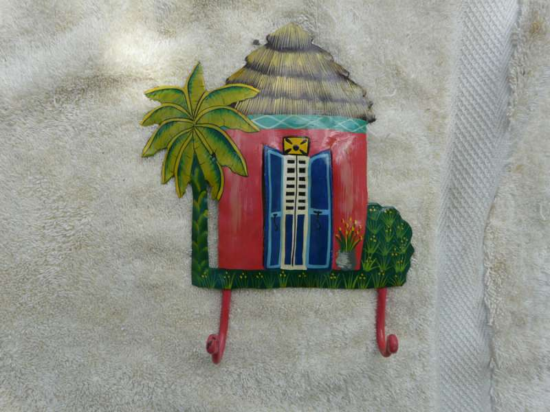 Pink House and Palm Tree with Two Hooks