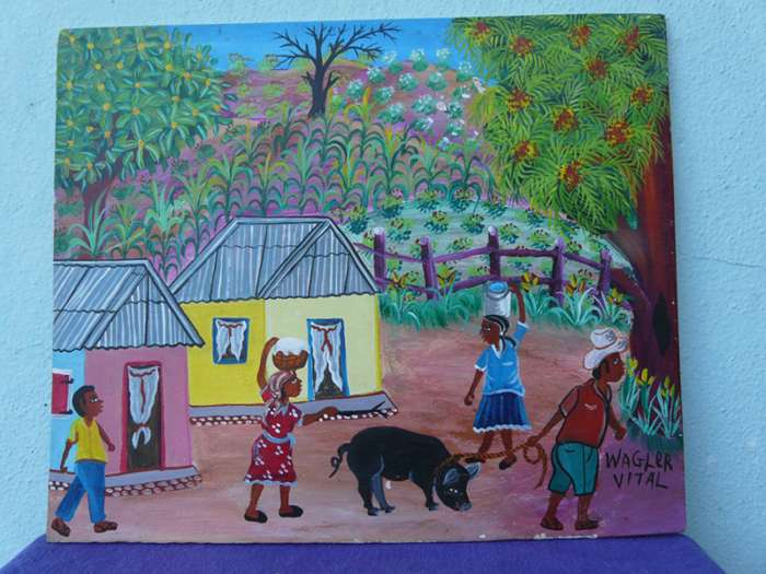 Village Scene with Black Pig