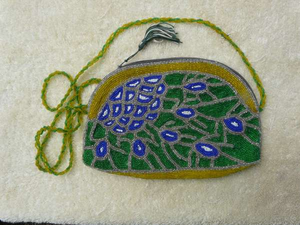 Purse: Blue-White Circles, Border in Yellow