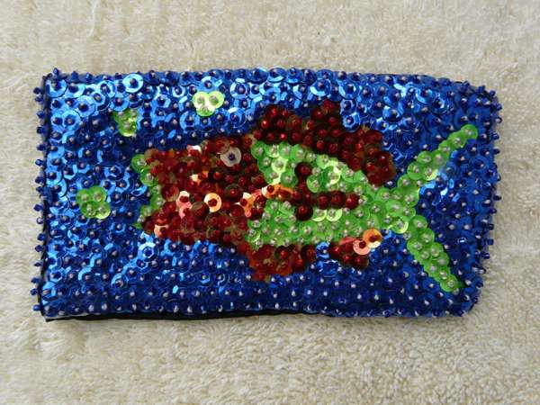 Case for Eyeglasses: Green-Red Fish in Blue Water