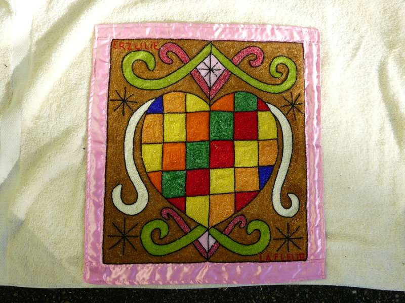 Erzulie with Checkerboard Heart on Pink